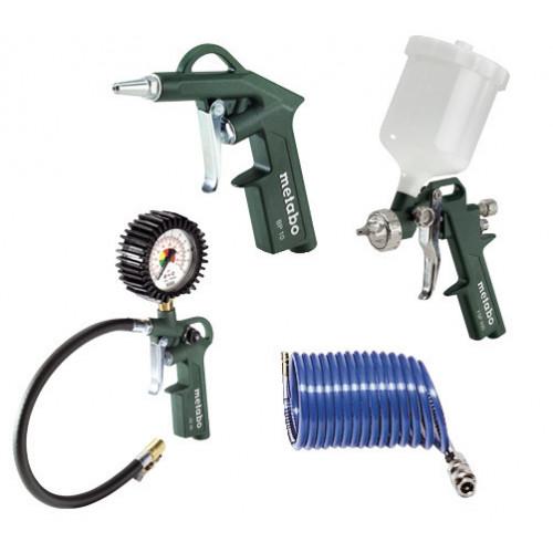 LPZ 4 Set: Compressed Air Tool Set: Blow gun, tyre inflator, paint spray gun, PA sprial hose