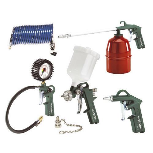 LPZ 7 Set: Compressed Air Tool Set: Blow gun, tyre inflator incl adaptor and ball needle, paint spray gun, PA sprial hose