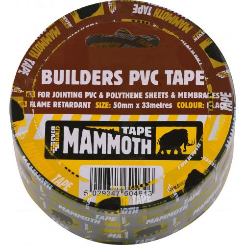BUILDERS PVC TAPE BLACK 50MM 33MTR