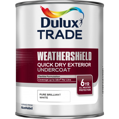 Dulux Trade WEATHERSHIELD Quick Dry EXT U/COAT PBW 1L