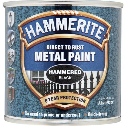 Hammerite METAL PAINT HAMMERED BLACK 250ML