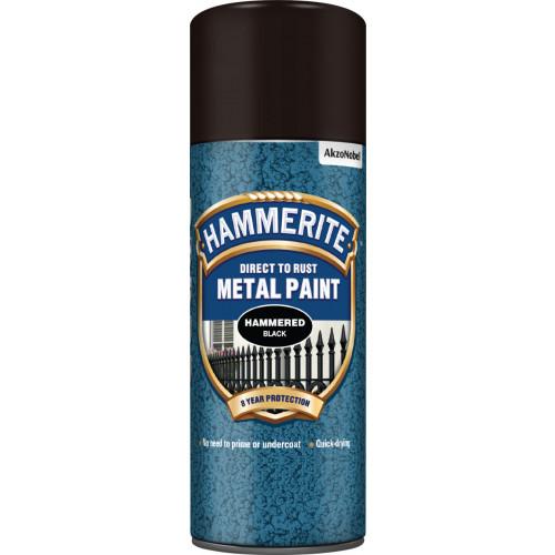 Hammerite METAL PAINT HAMMERED BLACK AERO 400ML
