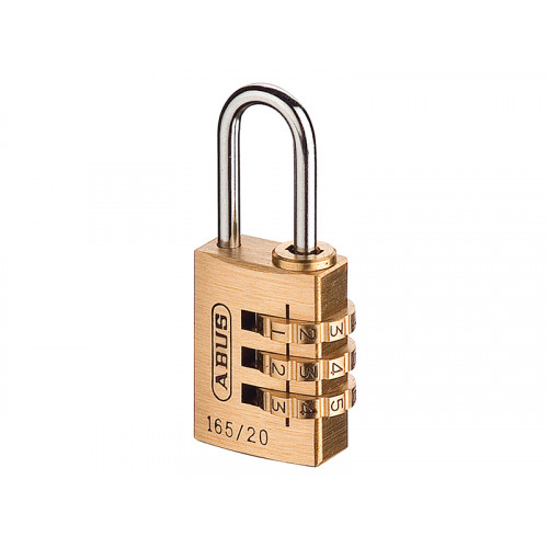 165/20 20mm Solid Brass Body Combination Padlock (3 Digit) Carded