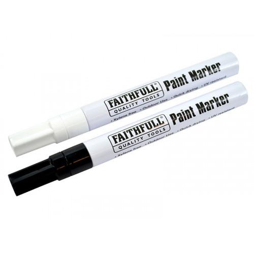 Faithfull Paint Marker Pen Black & White (Pack of 2)