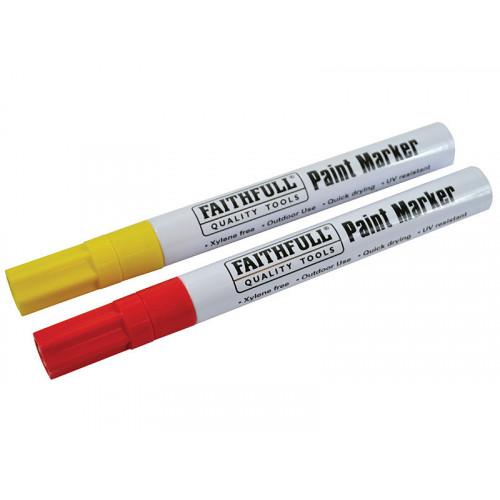 Faithfull Paint Marker Pen Yellow & Red (Pack 2)