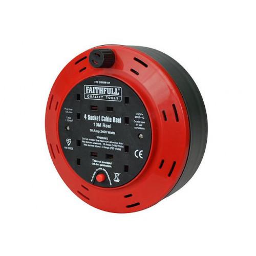 Cable Reel 230 Volt 10 Metre 10 Amp 4 Socket