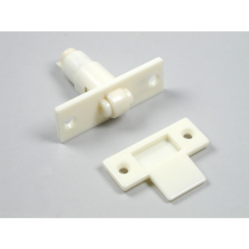 DOOR CATCH - WHITE THERMOPLASTIC  (ADJUSTABLE)