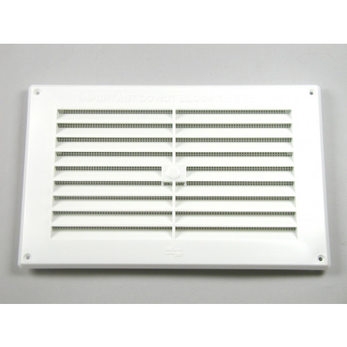 "LOUVRE FLUSH FITTING VENT 9"" x 3"" - 229 x 76mm WHITE"