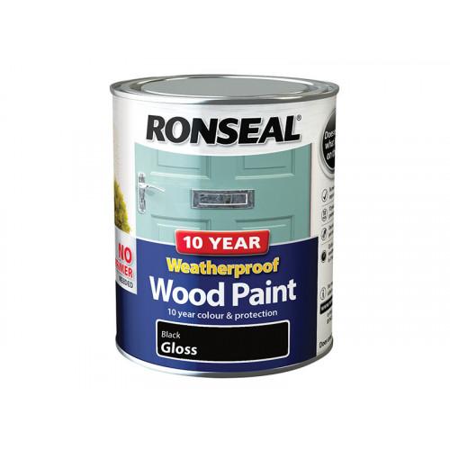 Ronseal 10 Year Weatherproof Wood Paint Black Gloss 750ml