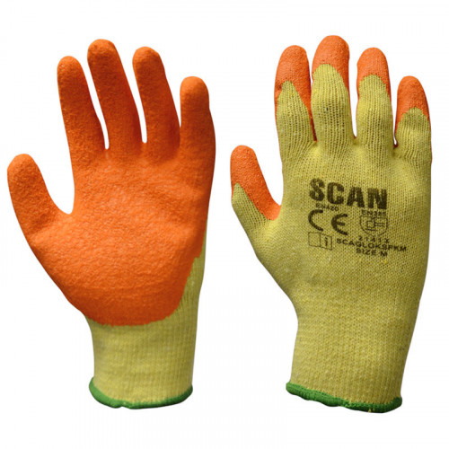 Knit Shell Latex Palm Gloves Orange