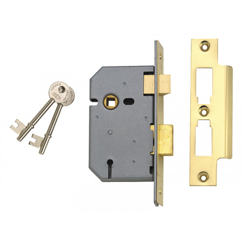 2277 3 Lever Mortice Sash Lock Polished Brass 65mm 2.5in Box
