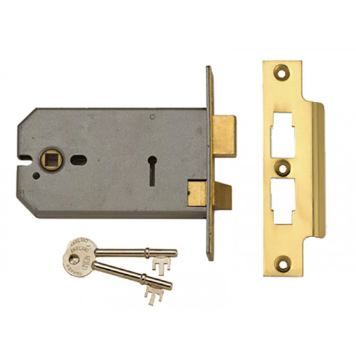 2077-5 3 Lever Horizontal Mortice Lock 124mm Polished Brass