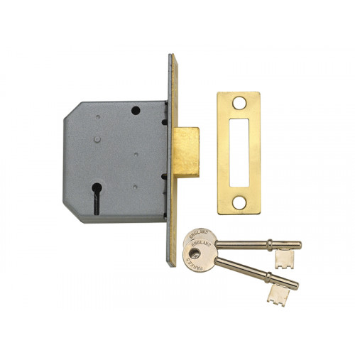 PM322 3 Lever Mortice Dead Lock 67mm 2.5in Polished Brass
