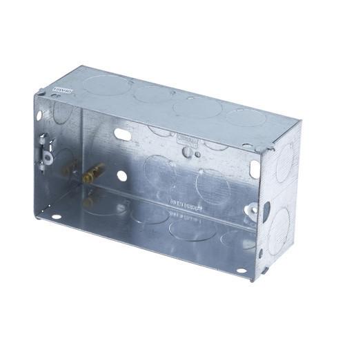 Metal Back Box Double Socket 47mm