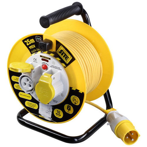 Cable Reel 25 Metre 16amp 2.5mm Cable 110 Volt