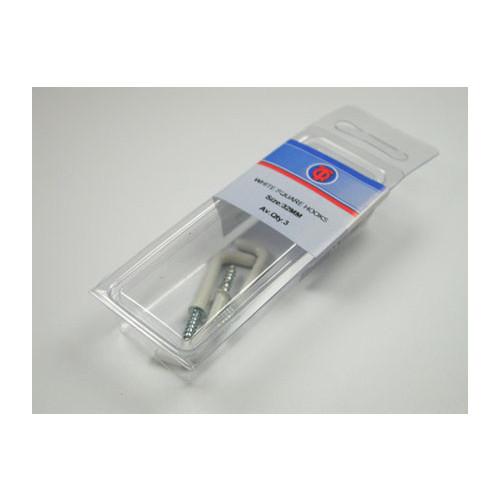 Square Hooks White 25mm