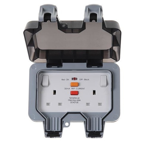 Double Switched RCD 13A Outdoor Socket
