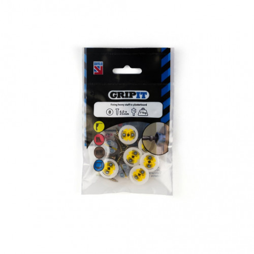 Gripit Yellow Plasterboard Fixing Pack 8